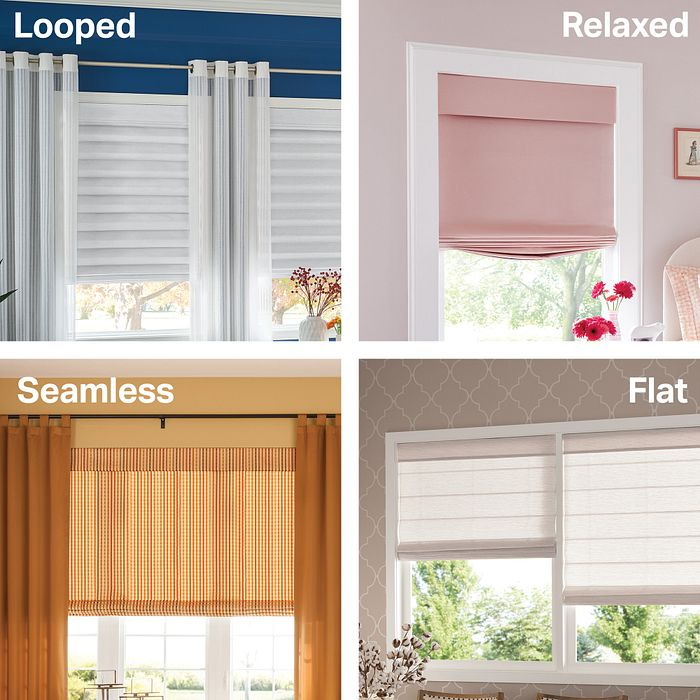Four styles of Roman Shades: Looped, Flat, Seamless and Relaxed