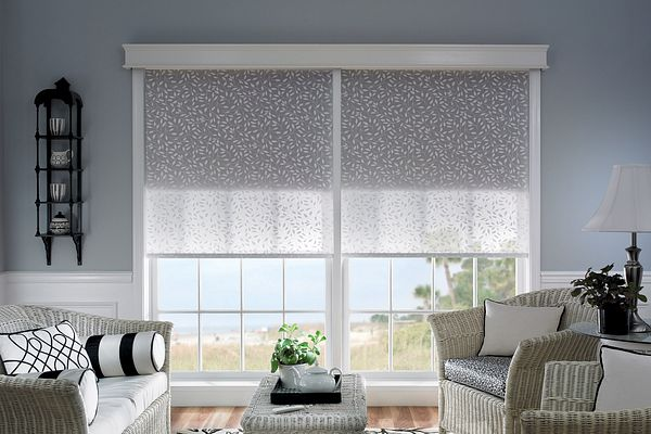 "Dual Shades with Motorized Lift; Roller Shades (front): Tuscan, Muse 1291; Roller Shades (back): Gemstone, Jewel 1253; 51⁄2"" Noble Wood Cornice: Snowflake 1603 Tuscan, Gemstone"