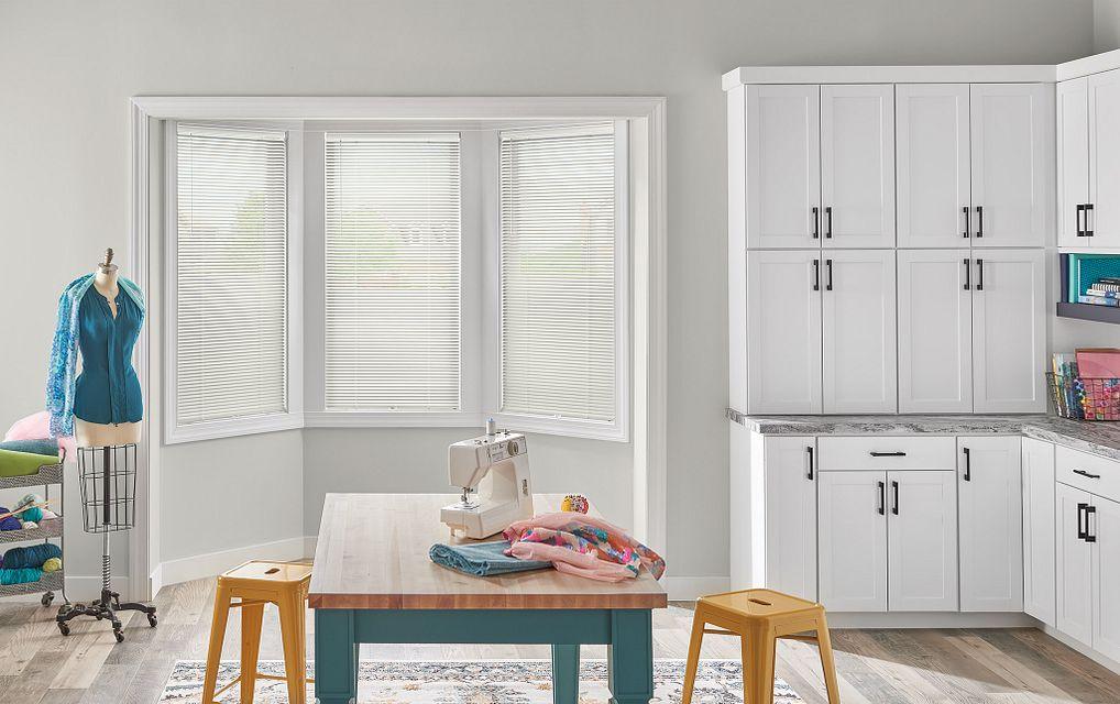 "1"" LightBlocker™ Aluminum Blinds with Cordless Lift/Wand Tilt, Hidden Holes: Crystal White, 629"