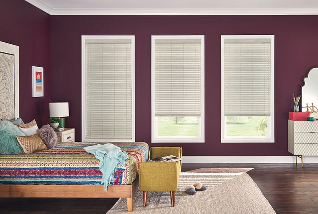 "2"" Premium Faux Wood Blinds with Cord Lift/Cord Tilt: Moon Rock 2738 with NoHoles and 3"" Standard Valance"