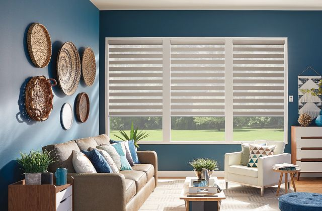 Layered Shades with Motorized Lift: Salty Air, Light Mist 4154