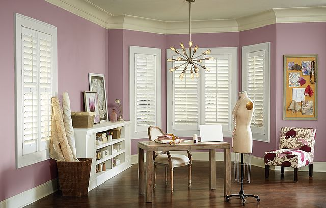 "3 ½"" Composite Shutters with Hang Strip, Divider Rail, Double Mouse Hole, and Standard Tilt: Silk White 2922"
