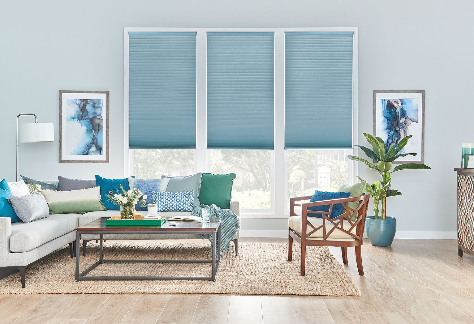 "1/2"" Double Cell Cellular Shades with Motorized Lift: Halo, Atlantic Blue 1566"