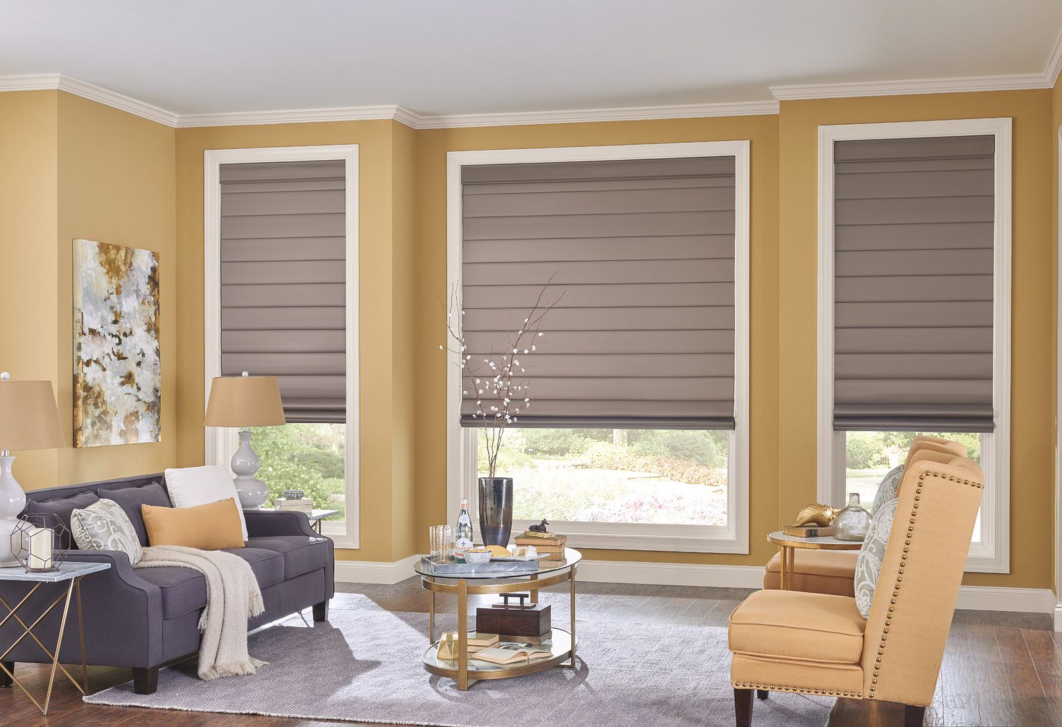 Classic Roman Shades in Flat Style with Cordless Lift: Satin, Pewter 3237