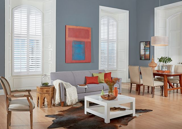 "3½"" Wood Arch Panel Shutters with Standard L-Frame, Divider Rail, and Standard Tilt: Picket Fence 1051"