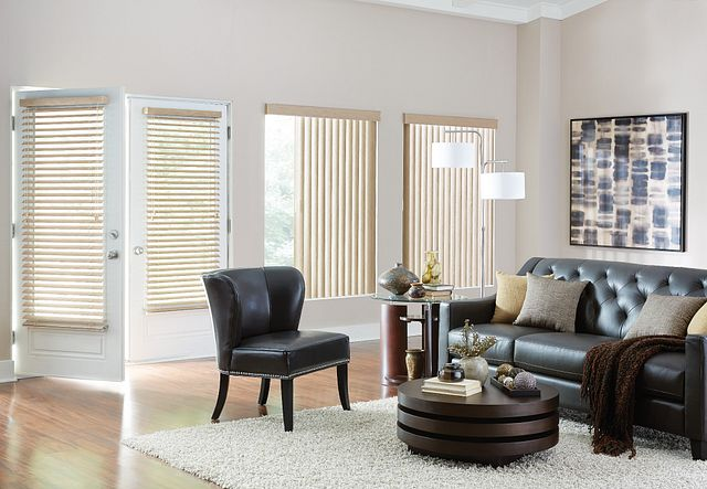 "S-Shaped Vinyl Vertical Blinds with One Touch Wand Control and Square Corner Valance: Presidential, Roosevelt 6699 2"" Vinyl Horizontal Blinds with Cord Lift/Cord Tilt and Standard Valance: Presidential, Roosevelt 7078"