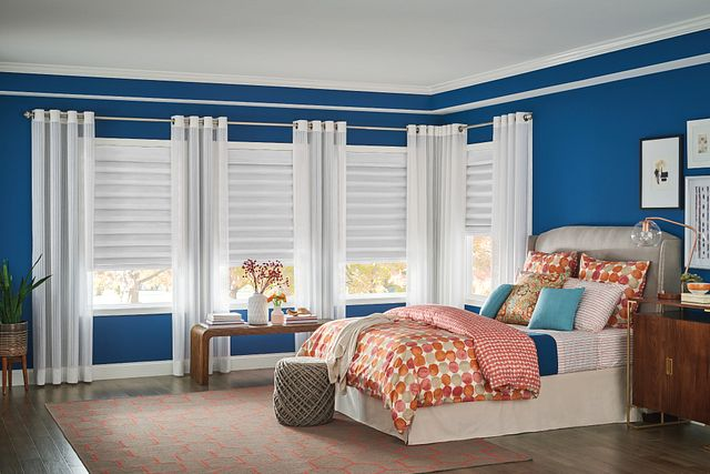 Bali HIC Classic Roman Shades in Looped Style with Cordless Lift: Hoehne II, Mushroom 3571; Decorative Panels with Grommet Top: Easton, Blanc 3460