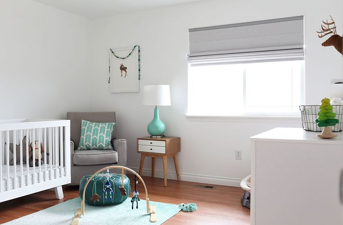 Blackout Bali Classic Roman Shades in a nursery