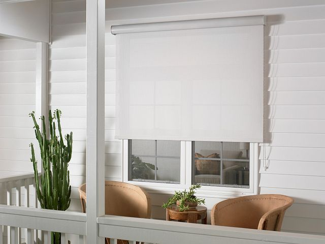 Exterior Solar Shade with Continuous-loop Lift and Outdoor Casette Valance: B1000, Alabaster 51602