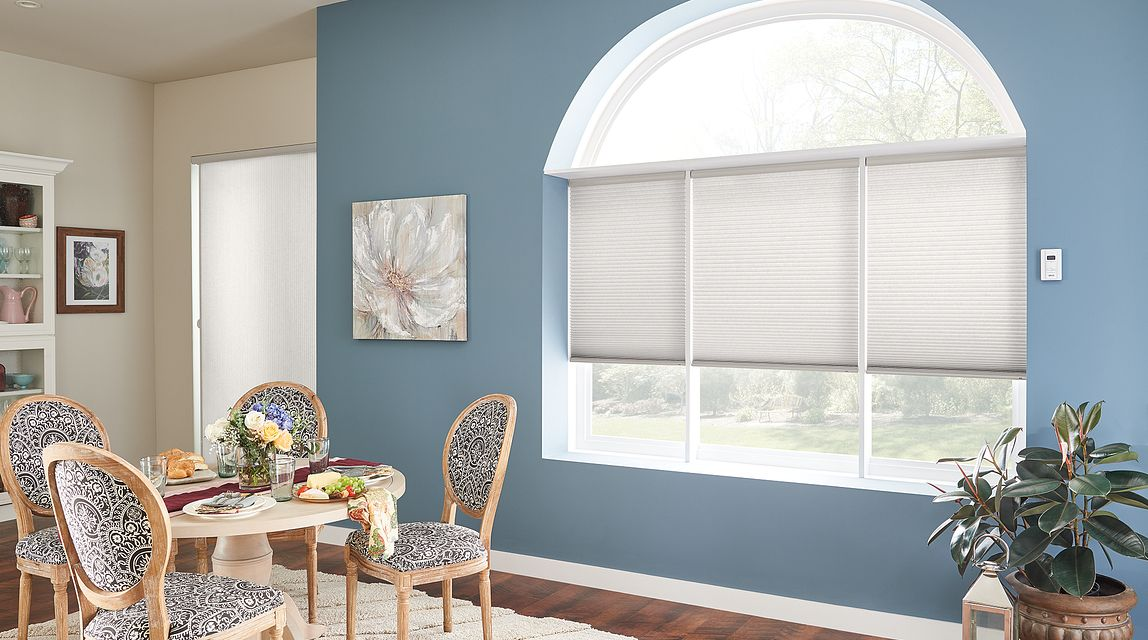 "Windows: 1/2"" Double Cell Cellular Shades with Motorized Lift: Halo, Garden Stone 1568. Door: 1/2"" Double Cell VertiCell Cellular Shades: Halo, Garden Stone 1568"