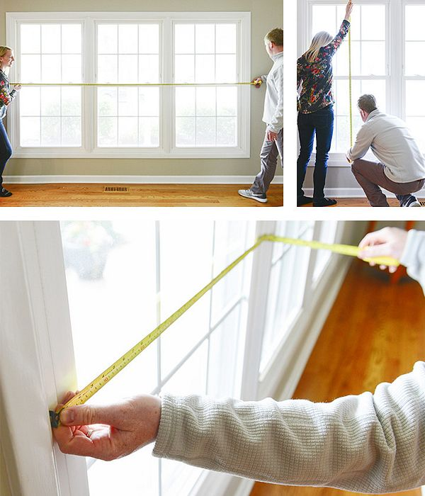 A collage of photos showing the measuring of each window