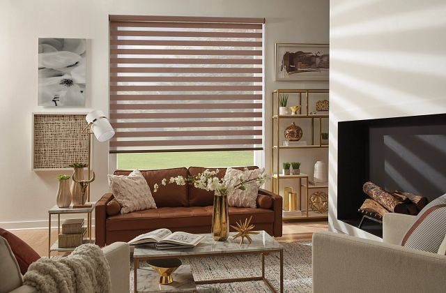 Layered Shades with Continuous-Loop Lift: Sunbaked Ember, Sunlit Stone 4211