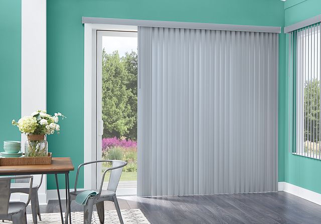 Bali Essentials Vinyl Vertical Blinds with Wand Control and Square Corner Valance: Chams Grey 9092