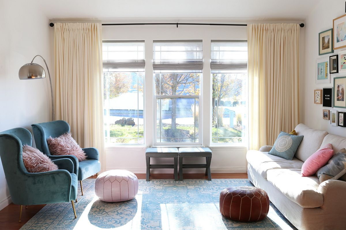 curtains on large window in a living room