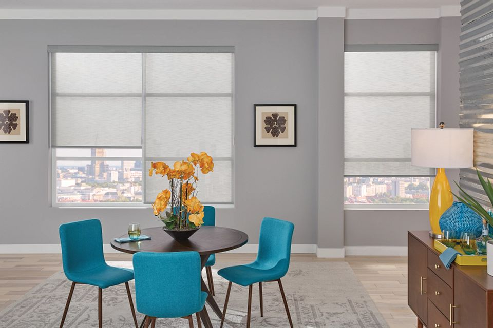 Roller Shade with Motorized Wand, Fabric-Wrapped Hem Bar