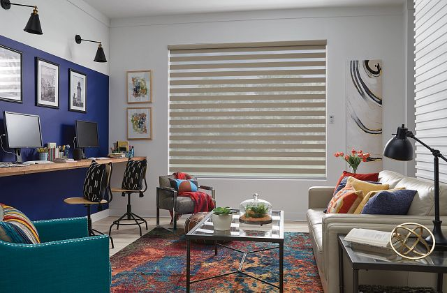 Layered Shades with EasyTouch Motorized Lift: Beachcomber, Foggy Morning 4290
