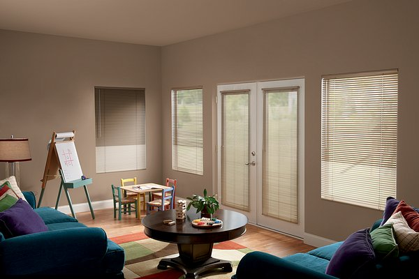 """Windows: 1"""" Cordless Multi-Colored Striped Blinds, Beige 011 and Fawn 031. French Doors: 1⁄2"""" LightBlocker™ Micro, Beige 011"""