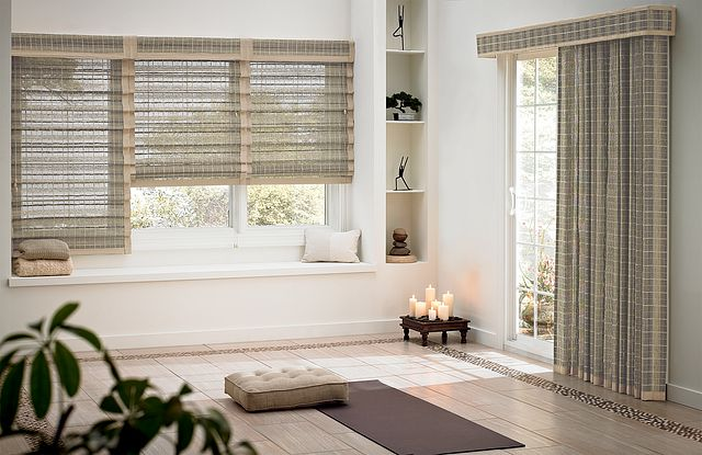 """Looped Roman Natural Shades with Cord Control, 6"""" Standard Valance and 2"""" Edge Banding in Taupe 1007: Highpoint, Brook: 35113. Natural Drape, Standard Fullness, with Wand Control and 2"""" Edge Banding in Taupe 1007: Highpoint, Brook 35113; 6"""" Palisade Valance with 1"""" Edge Banding in Taupe 7008."""