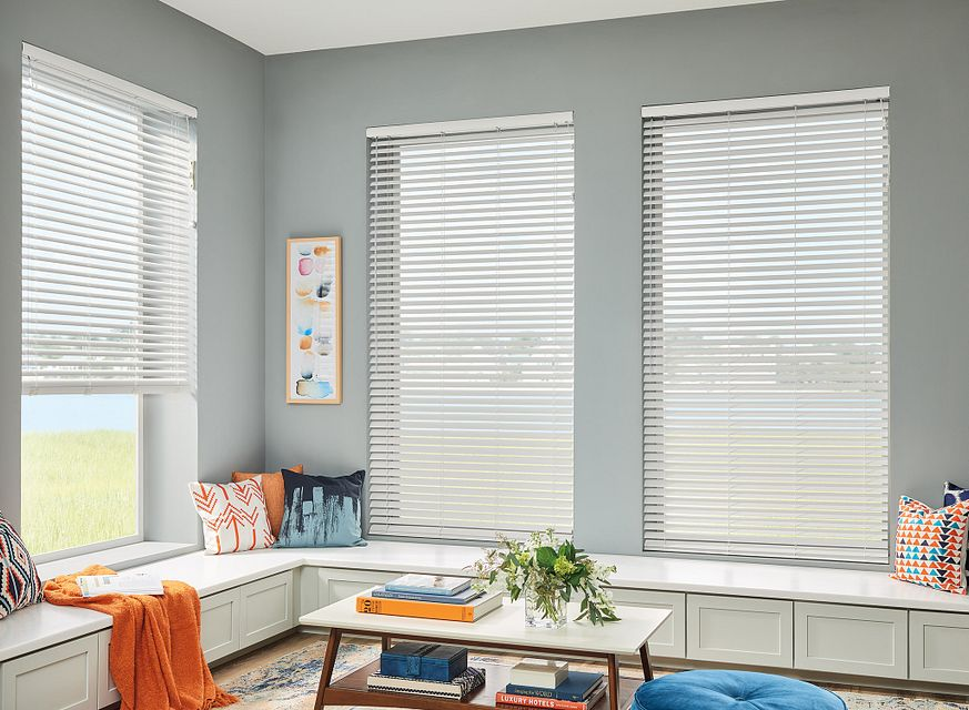 "2"" Horizontal Vinyl Blinds with Cord Lift/Wand Tilt and Standard Valance: Foundations Snow 7205"