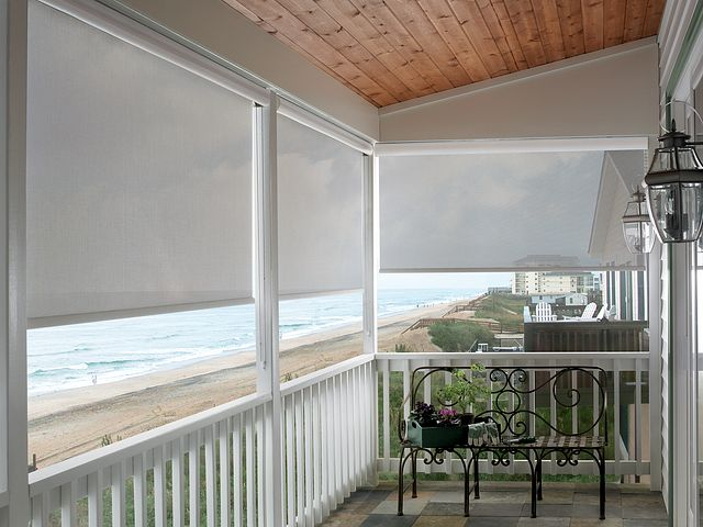 Exterior Solar Shades with Continuous-loop Lift and Cassette Valances: Lattice, Alabaster 51502