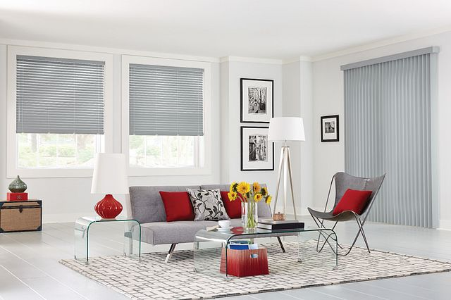 """Crown Vinyl Vertical Blinds with Cord and Chain Control and Square Corner Valance: Americana, Oceanfront 3091; 2"""" Vinyl Horizontal Blinds with Wand Tilt/Cord Lift, NoHoles, and Standard Valance: Americana, Oceanfront 7058"""