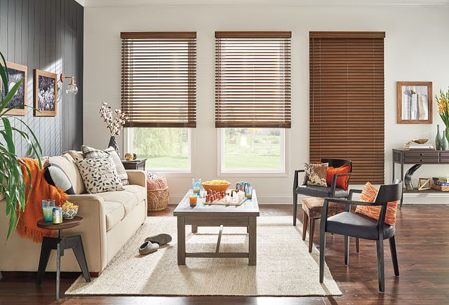 "2"" Wood Blinds with Cordless Lift/Wand Tilt: Distressed Canyon 1070 with 3 ½"" Premium Traditional Valance"