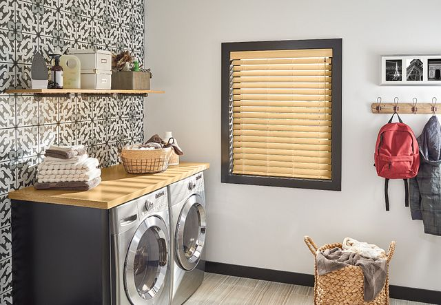 "2 ½"" Premium Faux Wood Blinds with Cordless Lift/Wand Tilt: Natural 7036 with 3"" Standard Valance"