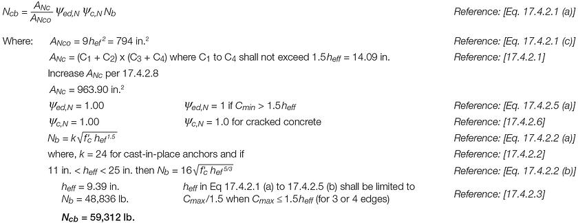 Shallow Podium Anchorage Design Example 17.4.3