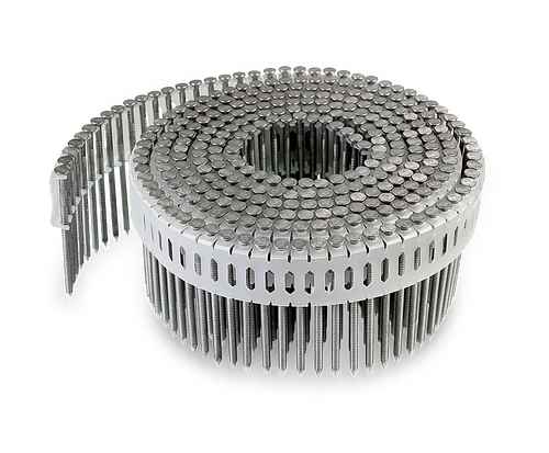 0° Inserted Plastic Coil, Full Round Head, Ring-Shank Nail