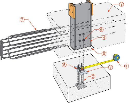 Embedded Fixed Base Column Installation Diagram