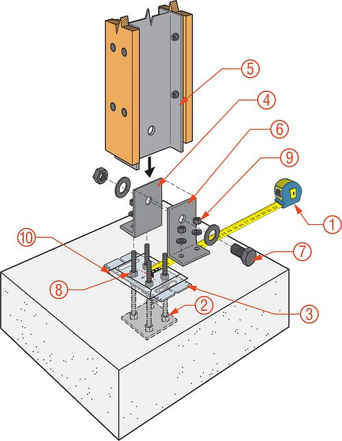 Column with Single Pin Base Installation Diagram