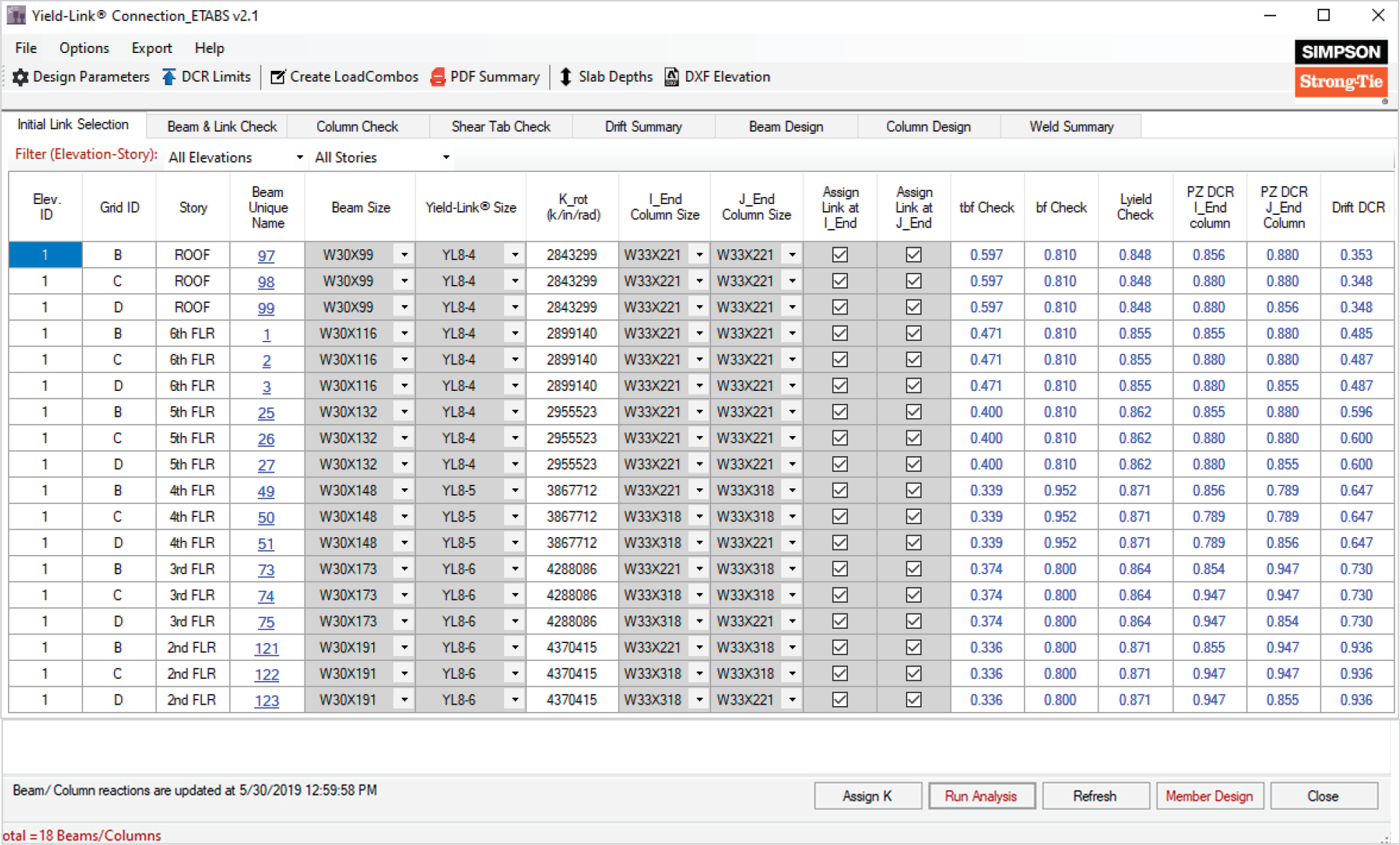 Screen Shot of Yield Link Connection_ETABS v2.1