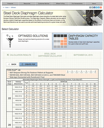 Steel Deck Diaphragm Calculator