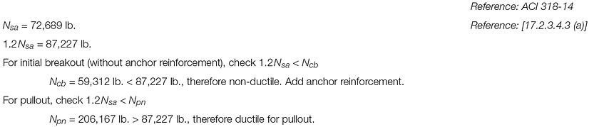 Shallow Podium Anchorage Design Example 17.2.3.4.3(a)