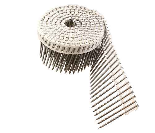 15° Inserted Plastic Coil, White Full Round Head, Ring-Shank Nail