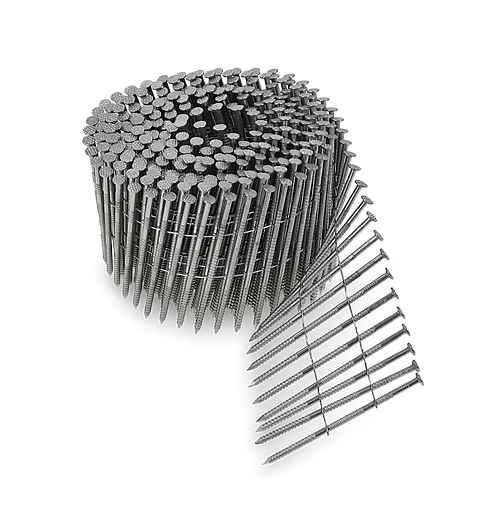 15° Wire Coil, Full Round Head, Ring-Shank Siding Nail