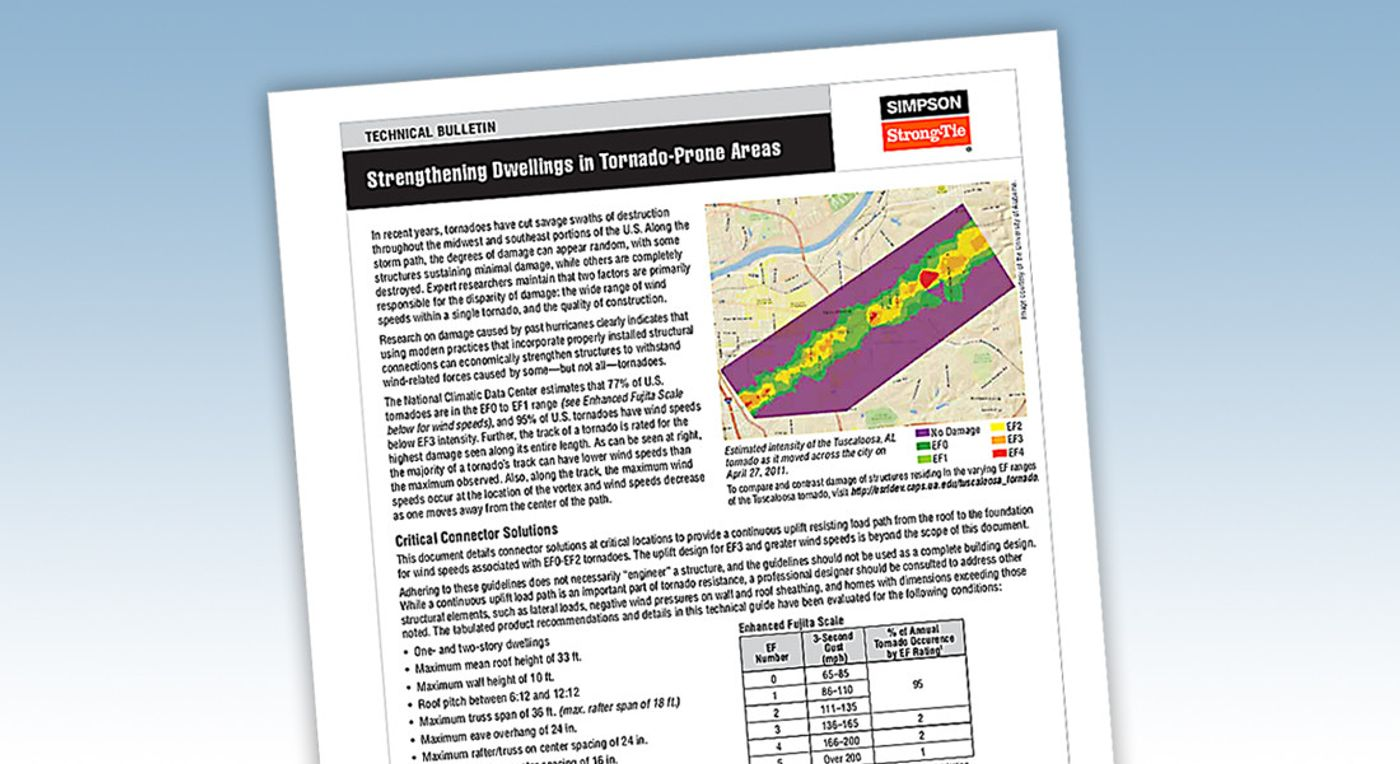 Strengthening Dwellings in Tornado-Prone Areas