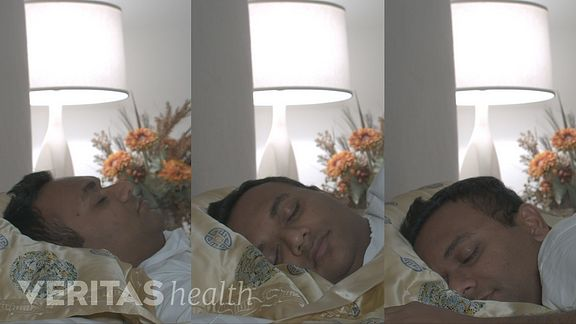 Man sleeping in three different positions