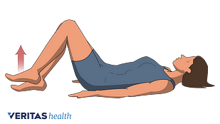 Illustration of person lying on the floor with knees bent, performing the hook lying march exercise