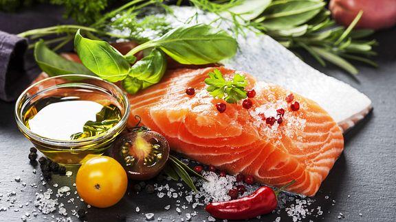 Piece of well-seasoned salmon