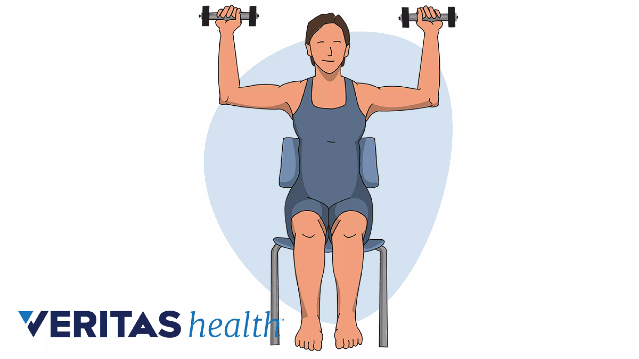 Person sitting in a chair with arms raised, holding dumbbells doing a shoulder press exercise