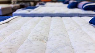 Close up view of a plush mattress