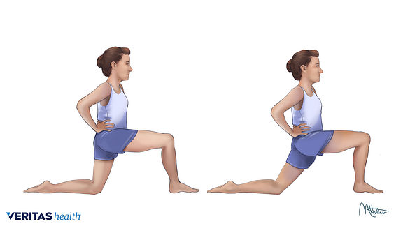 Illustration of person doing the psoas major muscle stretch