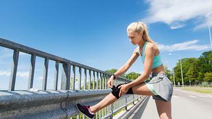 Image of woman adjusting knee brace