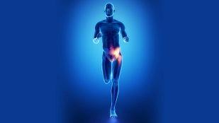 Skeleton running with hip pain.
