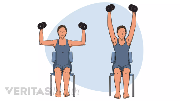 Woman performing the steps of shoulder press exercise