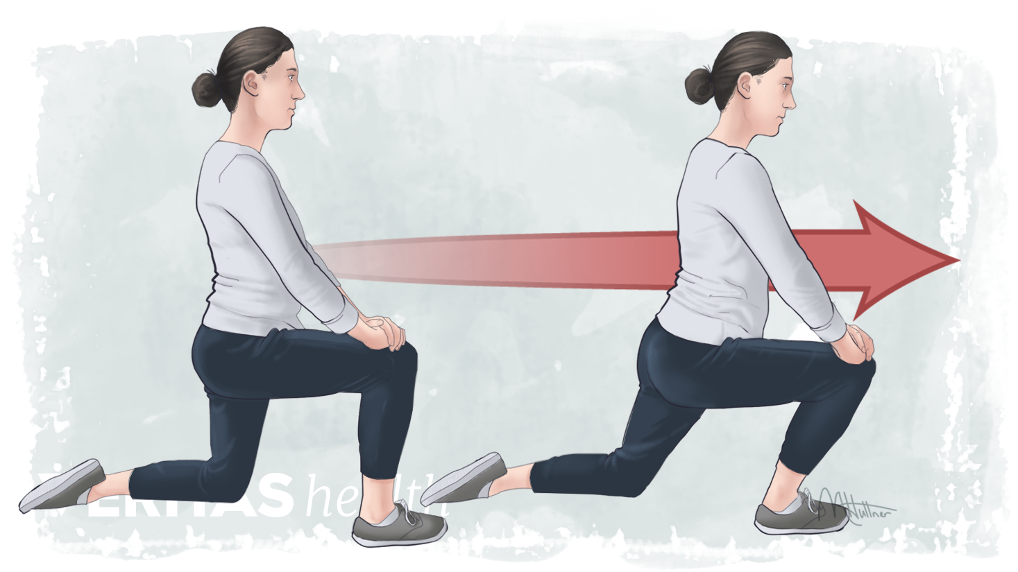Profile position of stating and end point of a kneeling lunge stretch