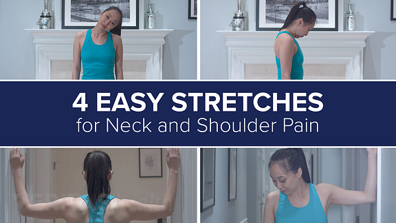 Collage of 4 neck stretches - flexion stretch, lateral flexion stretch, levator scapula stretch, corner stretch