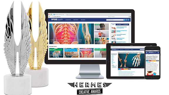 image of hermes silver and gold awards next to iMac, iPad, and iPhone with images of spine-health.com, arthritis-health.com, and sports-health on the screens.