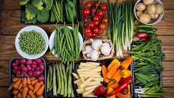 Spread of fruits and vegetables.